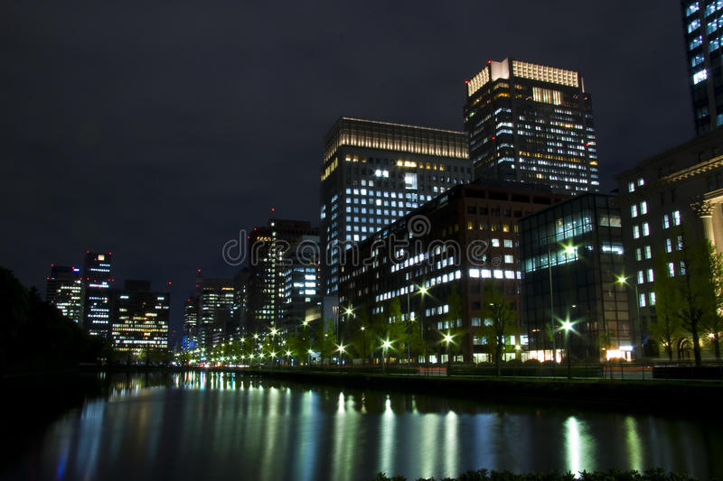 Noite Japão de Tokyo fotografia de stock royalty free