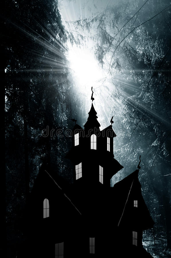 Noite. Luz mágica no foreat e no castelo ilustração do vetor