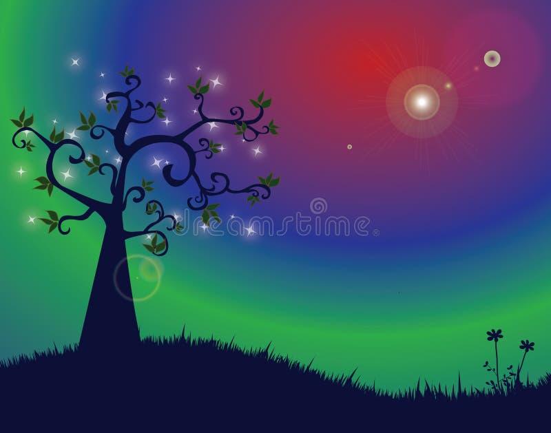 Noite mágica ilustração stock