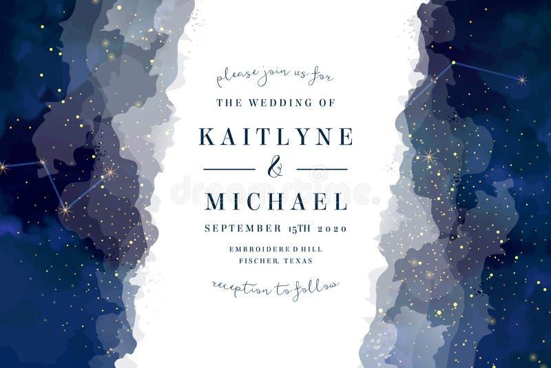 Noite mágica escura - céu azul com casamento efervescente do vetor das estrelas para convidar ilustração do vetor