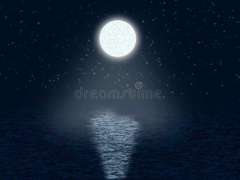 Noite Moonlit com estrelas ilustração royalty free