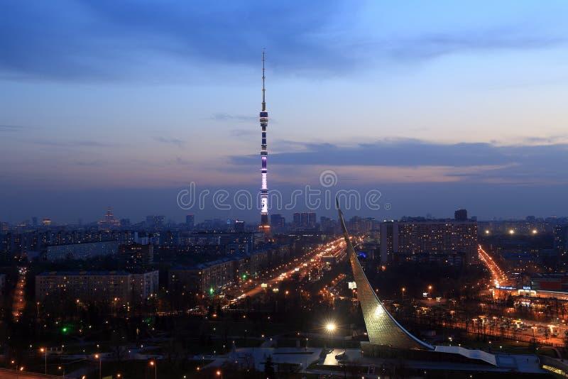 Noite Moscou da altura de fotos de stock royalty free