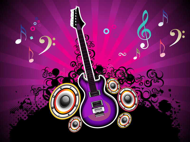 Noite musical colorida abstrata com guitarra ilustração stock