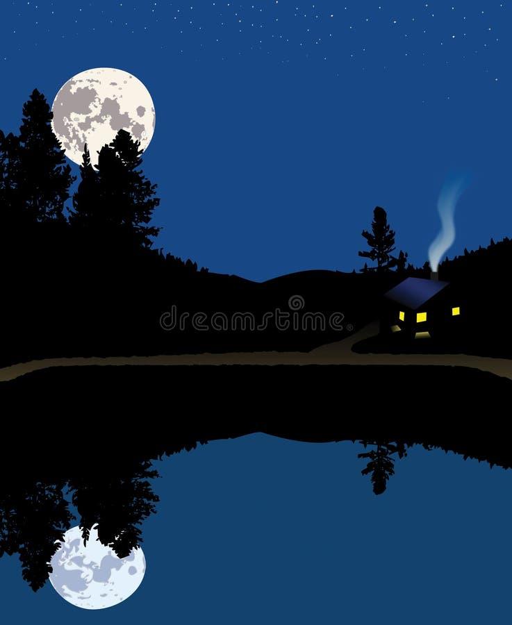 Noite na cabine da montanha do lago ilustração royalty free