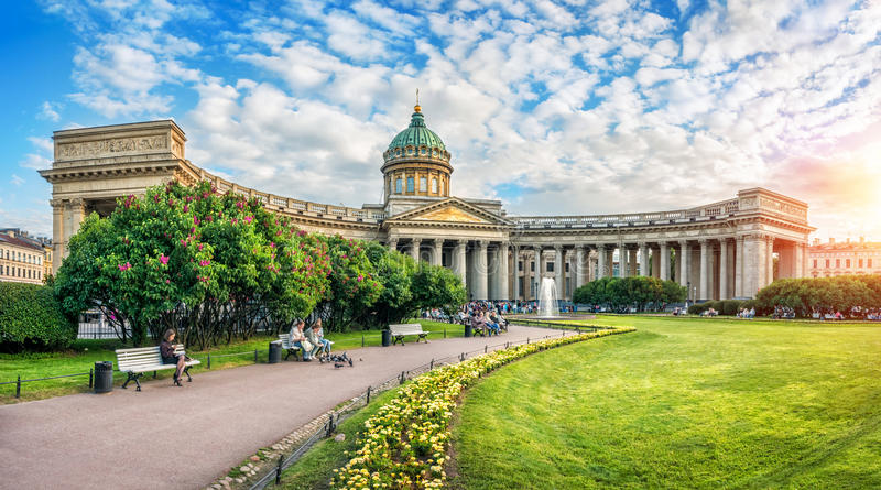 noite na catedral de Kazan imagens de stock royalty free