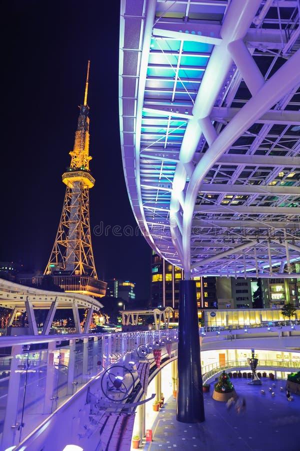 Noite na cidade de Nagoya fotos de stock royalty free