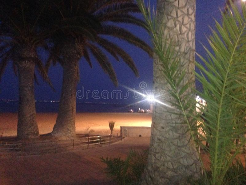 Noite na praia fotos de stock