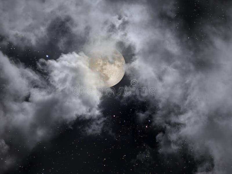 Noite nebulosa da Lua cheia com estrelas foto de stock