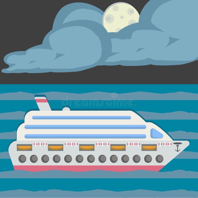 Noite no mar, luz de lua Costela Luminosa do navio de cruzeiros Estilo liso do projeto ilustração royalty free