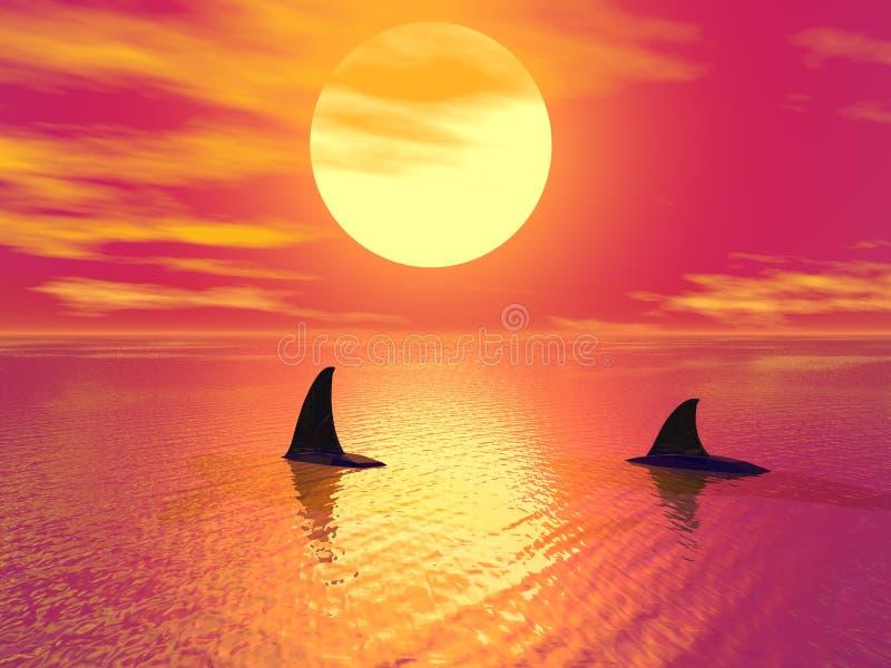 Noite no paraíso ilustração royalty free