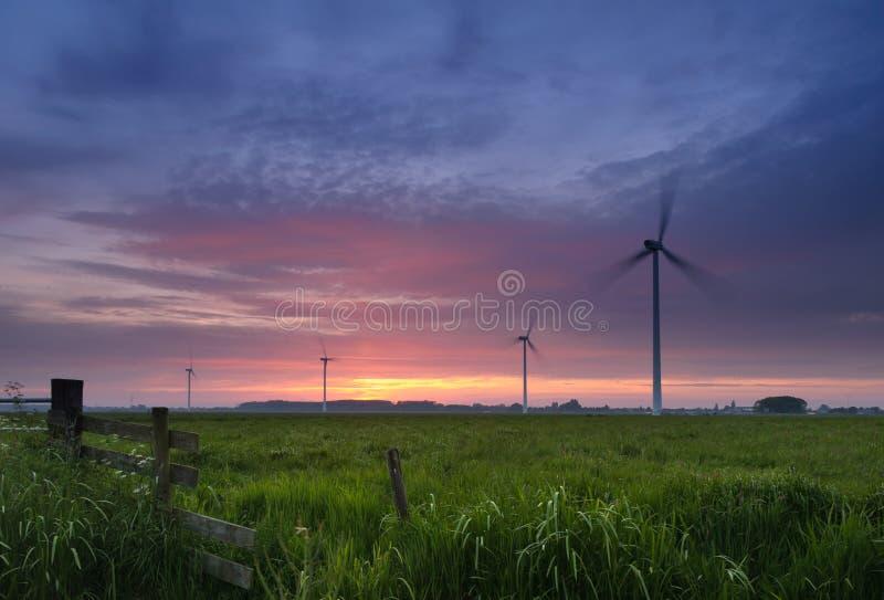 Noite nos moinhos de vento fotografia de stock royalty free