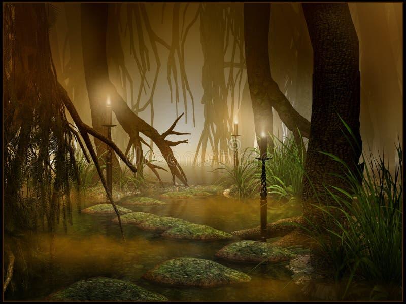 Noite nos pantanais ilustração do vetor