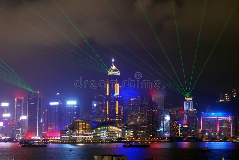 Noite opinião de Hong Kong, Victoria imagem de stock royalty free