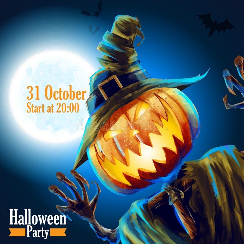 Noite outubro do partido de Dia das Bruxas ilustração do vetor