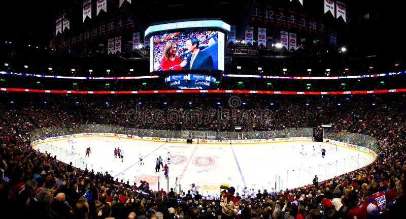 Noite panorâmico do hóquei em Canadá fotografia de stock