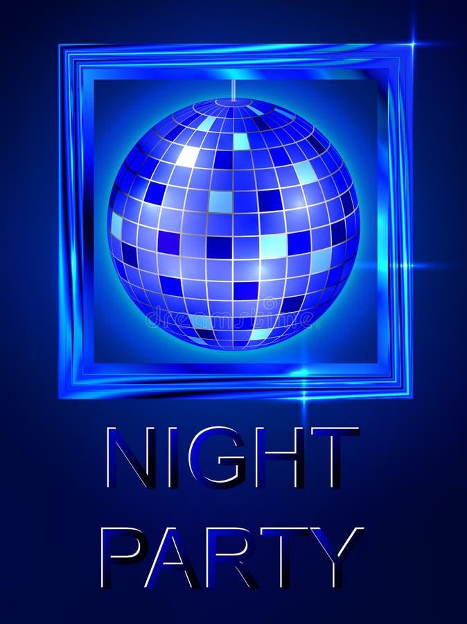 Noite para fora Disco da dança Esfera do disco Projeto brilhante azul brilhante ilustração royalty free