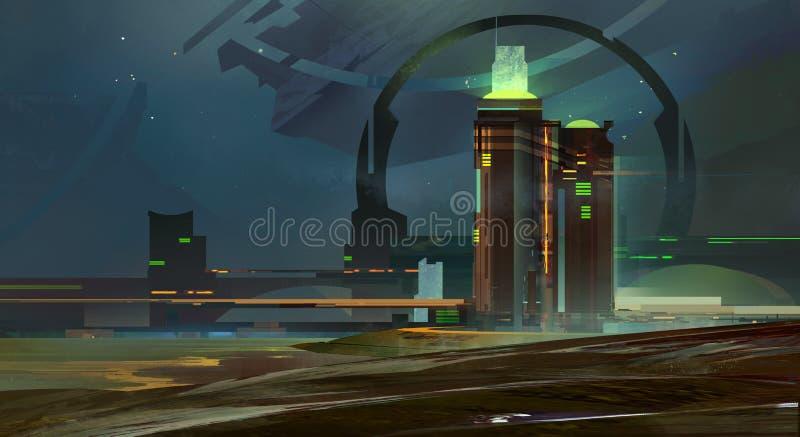Noite pintada uma skyline fantástica da cidade fotos de stock royalty free