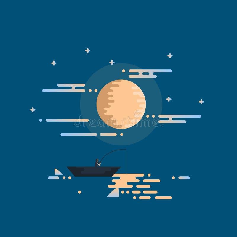 Noite que pesca horizontalmente ilustração royalty free