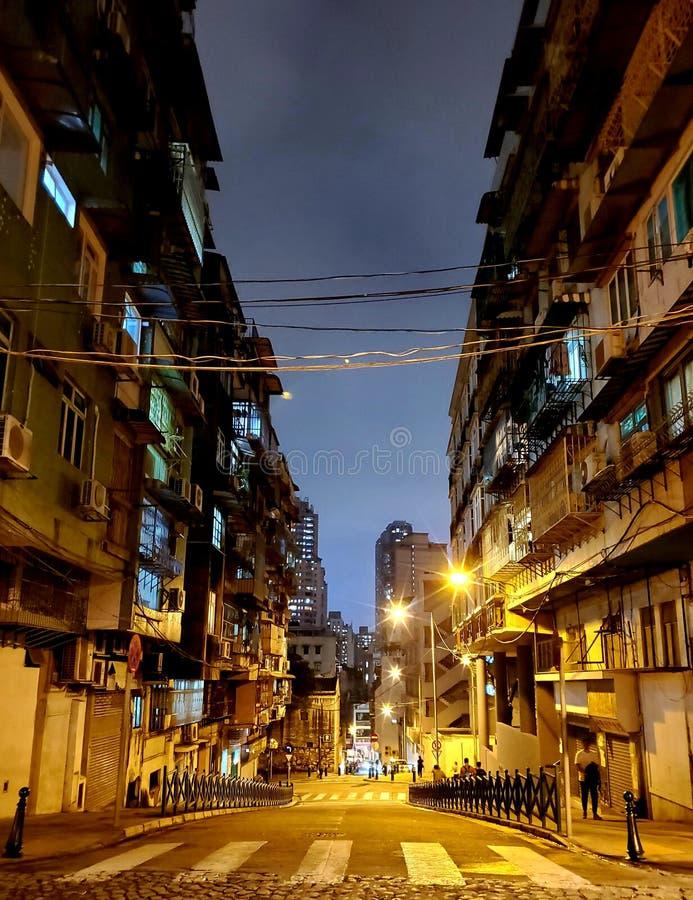Noite quieta em Macau foto de stock