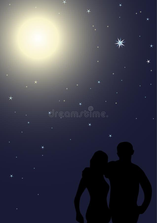 Noite romântica ilustração stock