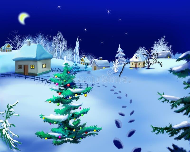 Noite romântica do inverno na véspera do ` s do ano novo no fundo ilustração royalty free