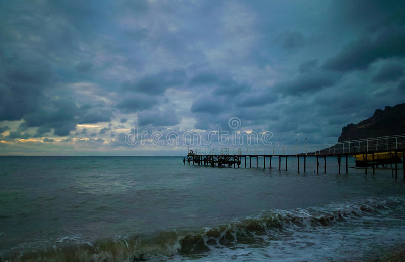 Noite romântica no mar fotografia de stock