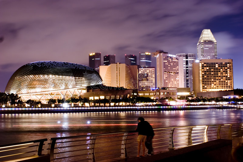 Noite Scence de Singapore fotos de stock