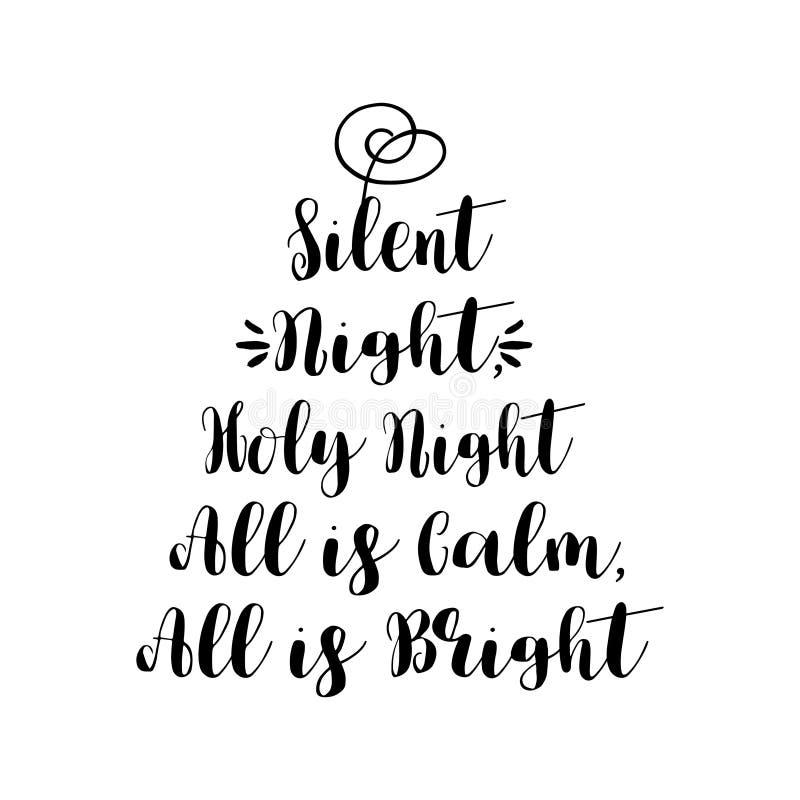 Noite silenciosa, a noite santamente é toda calma, toda é brilhante ilustração do vetor