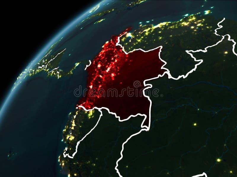 Noite sobre Colômbia ilustração stock