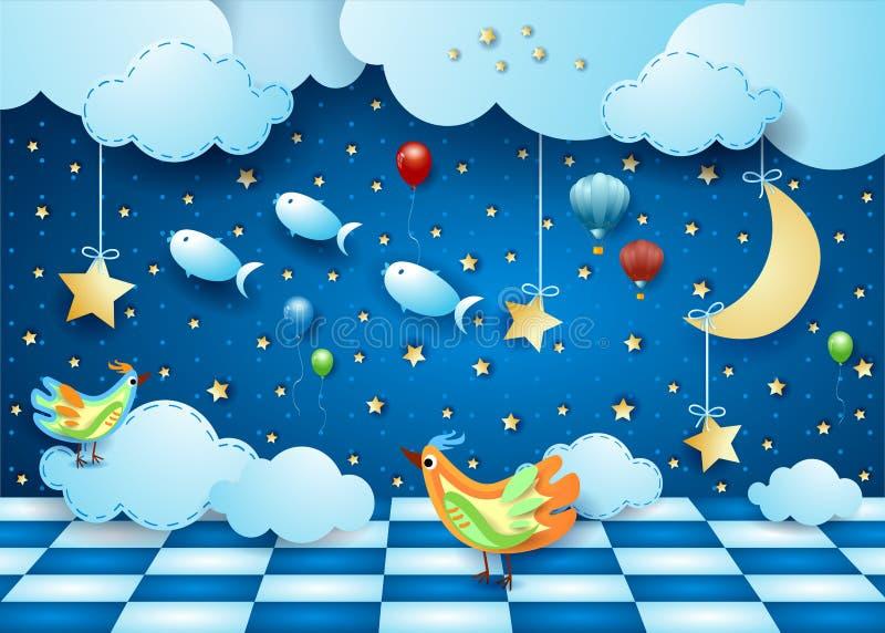 Noite surreal com sala, lua, balões, pássaros e peixes de voo ilustração stock