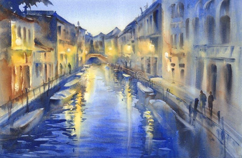 A noite Venetian ilumina a aquarela ilustração stock
