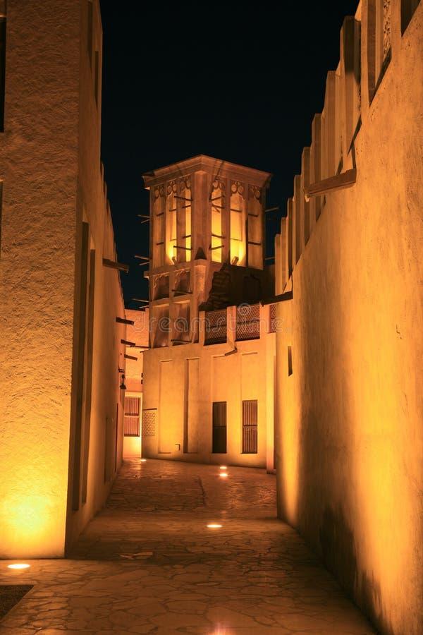 Noite-vista árabe da casa foto de stock