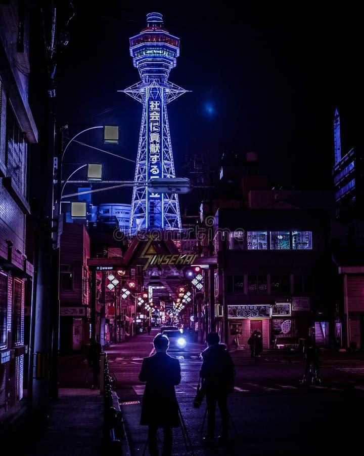 Noites de Osaka fotos de stock royalty free
