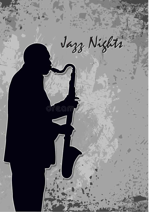 Noites do jazz ilustração royalty free