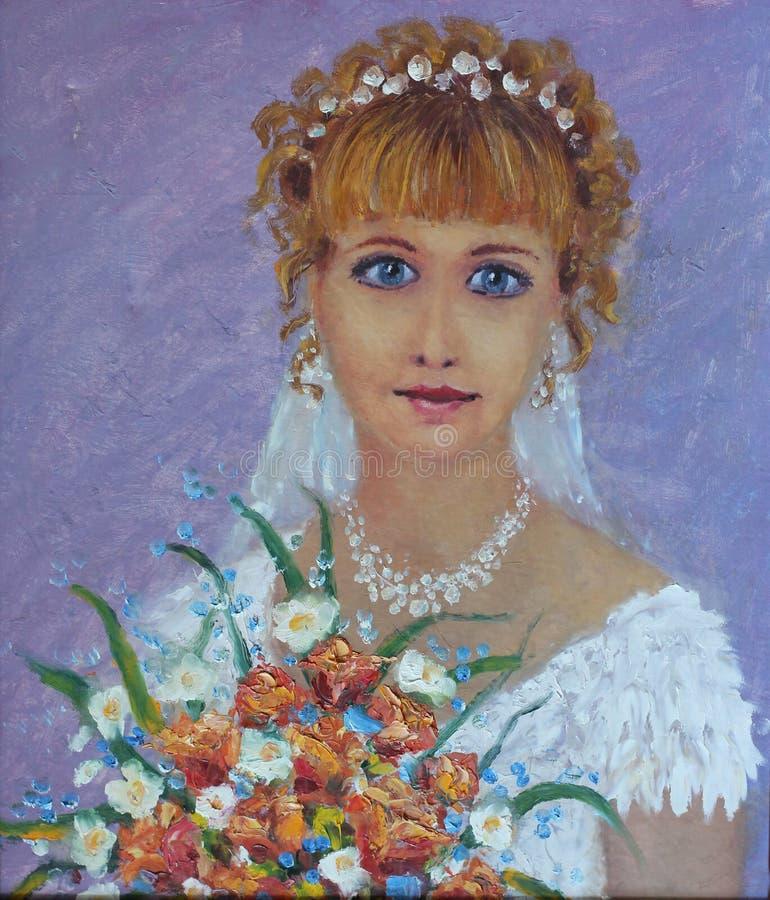 Noiva abstrata do retrato da pintura do casamento com ramalhete bonito ilustração stock