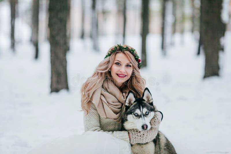 A noiva alegre levanta com o cão de puxar trenós siberian no fundo da neve branca Casamento do inverno artwork fotos de stock royalty free