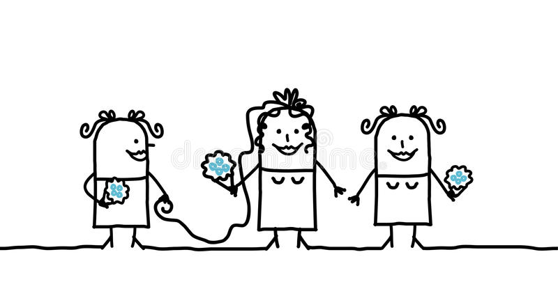 Noiva & damas de honra ilustração stock
