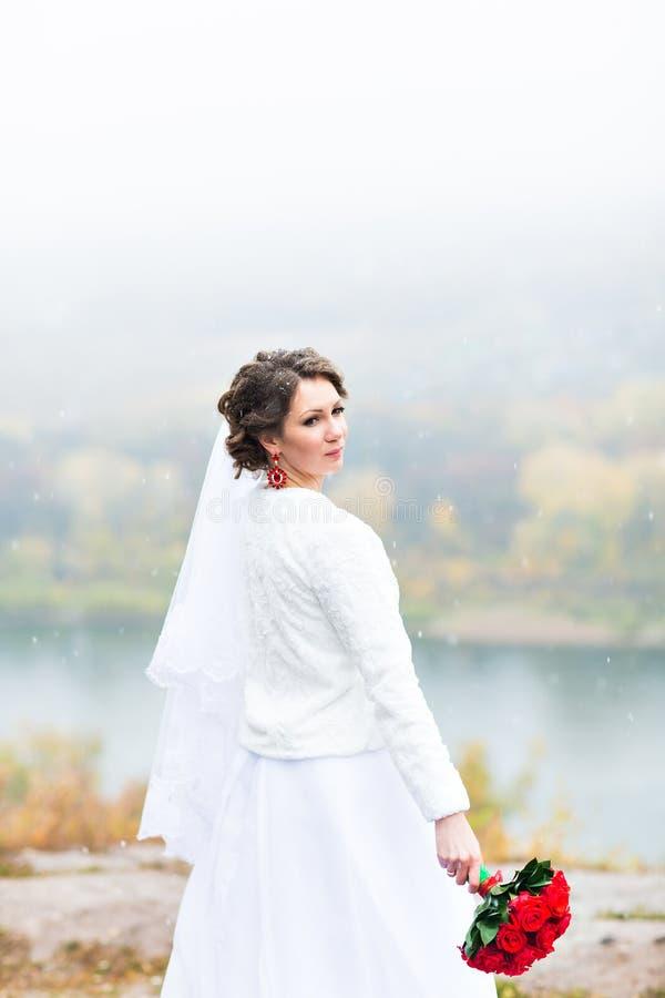 Noiva atrativa nova com o ramalhete de rosas vermelhas sobre o fundo nevado do Natal fotografia de stock