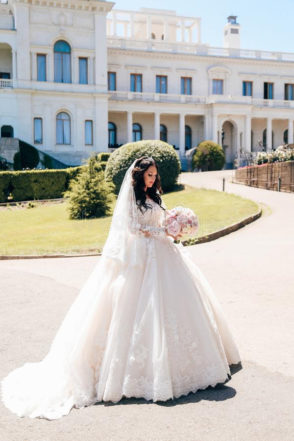 Noiva bonita com cabelo escuro no vestido de casamento luxuoso no ele imagem de stock