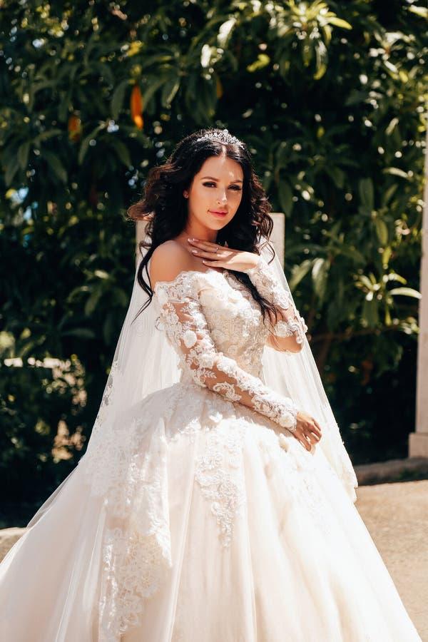 Noiva bonita com cabelo escuro no vestido de casamento luxuoso no ele imagem de stock royalty free