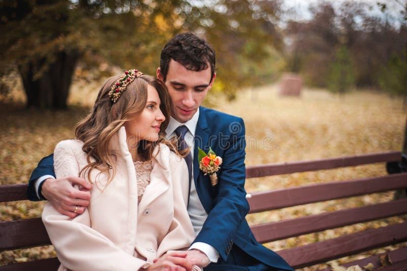 A noiva bonita e o noivo considerável que sentam-se em um banco no outono estacionam fotos de stock royalty free
