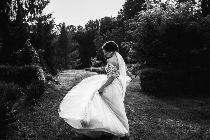 A noiva bonita em um branco levanta no parque fotografia de stock