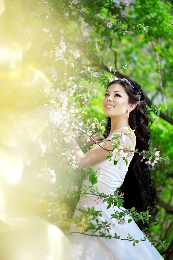 Noiva bonita em um jardim de florescência imagem de stock