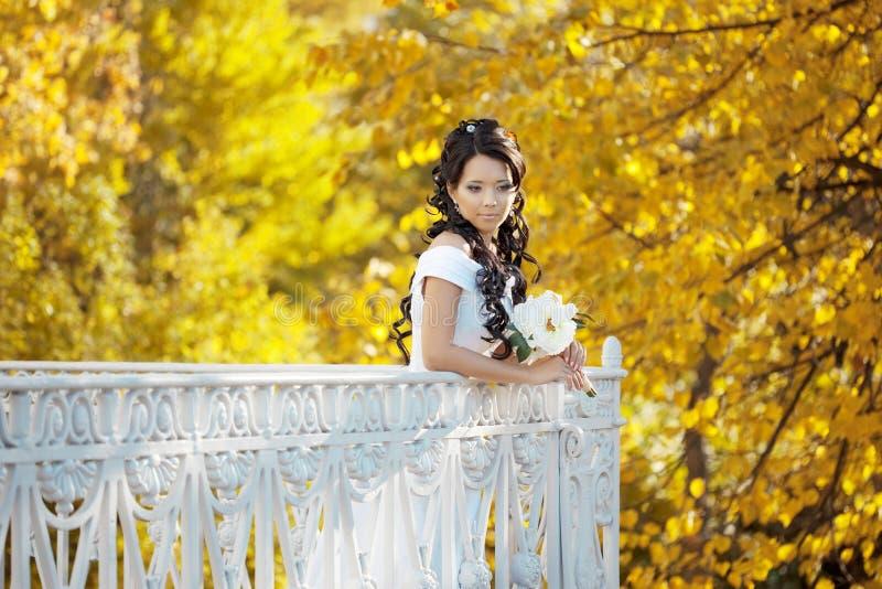 Noiva bonita no parque do outono foto de stock