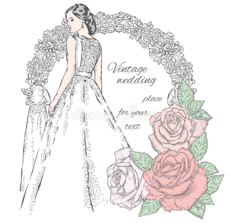 Noiva bonita perto do arco do casamento e rosas bonitas Ilustração do vetor para um cartão ou um cartaz ilustração do vetor