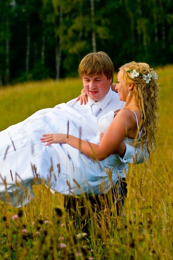 Noiva carreg do noivo no campo foto de stock