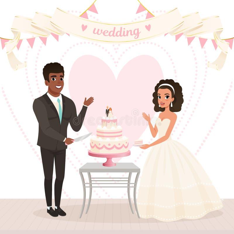 Noiva caucasiano dos desenhos animados e bolo de casamento afro-americano do corte do noivo Dia feliz Pares no amor Mulher no ves ilustração royalty free