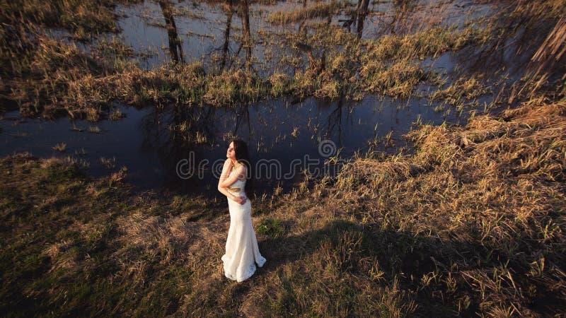 Noiva com cabelo e o lago longos Grande ângulo fotografia de stock