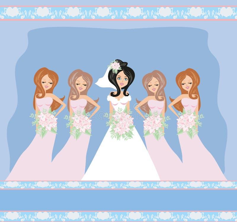 Noiva com damas de honra ilustração royalty free