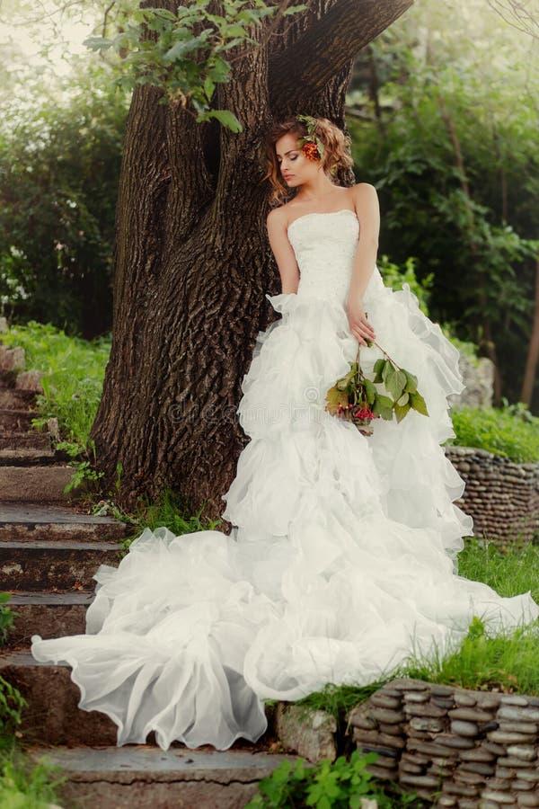 A noiva da mulher em um vestido de casamento relaxa a posição por uma grande árvore foto de stock royalty free